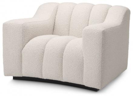 Casa Padrino Luxus Sessel Creme / Schwarz 107 x 96 x H. 78, 5 cm - Leicht gebogener Wohnzimmer Sessel - Hotel Sessel - Luxus Qualität