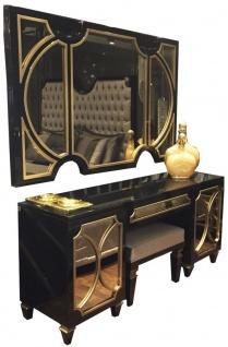 Casa Padrino Luxus Barock Schlafzimmer Set Schwarz / Gold - 1 Wandspiegel & 1 Kommode & 1 Sitzhocker - Schlafzimmer Möbel - Edel & Prunkvoll