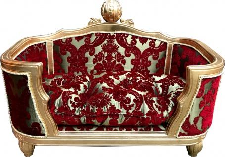 Pompöös by Casa Padrino Luxus Barock Hunde & Katzenbett Deluxe Bordeaux Bouquet Muster / Gold von Harald Glööckler