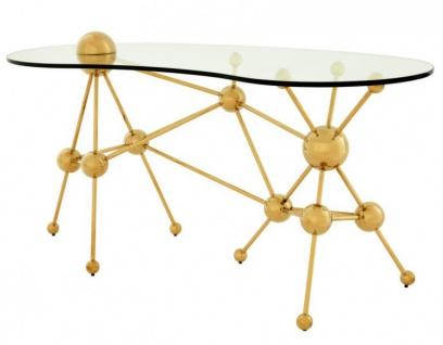 Casa Padrino Luxus Schreibtisch / Sekretär Glas / Gold Astronomy - Art Deco