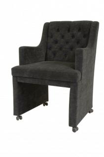 Casa Padrino Designer Esszimmer Stuhl / Sessel ModEF 310 Dunkelgrau - Hoteleinrichtung- Sessel auf Rollen - Vorschau 2