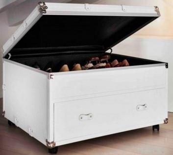 Casa Padrino Luxus Koffer Schuhkommode mit Schublade und Rollen Weiß / Silber 100 x 80 x H. 60 cm - Vintage Stil Kunstleder Schuhschrank - Luxus Qualität