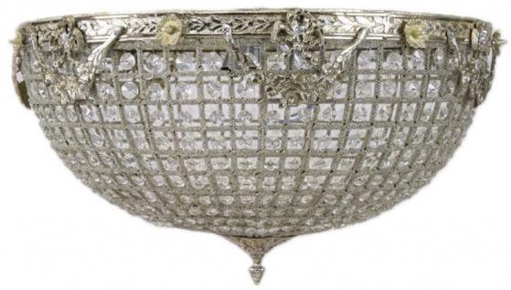Casa Padrino Barock Kristall Deckenleuchte Silber Ø 60 x H. 30 cm - Prunkvoller Decken Kronleuchter - Barock Leuchten