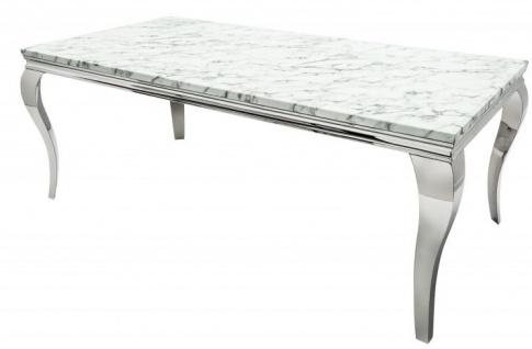 Casa Padrino Designer Esstisch mit Marmor 180 cm Weiss / Grau - Modern Barock
