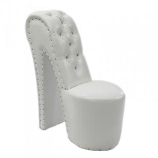 Moderner und sehr eleganter High Heel Sessel mit Dekosteinen Weiß Luxus Design - Designer Sessel - Club Möbel