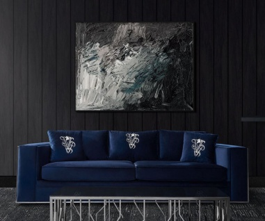 Casa Padrino Luxus Sofa Blau / Silber 240 x 95 x H. 65 cm - Wohnzimmer Sofa mit dekorativen Kissen - Luxus Wohnzimmer Möbel