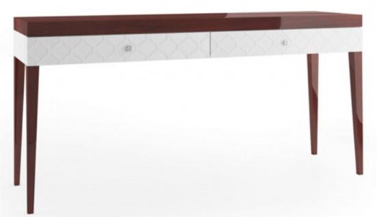 Casa Padrino Luxus Konsolentisch mit 2 Schubladen Hochglanz Braun / Weiß 171, 4 x 45 x H. 83 cm - Luxus Möbel