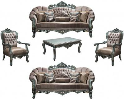 Casa Padrino Luxus Barock Wohnzimmer Set Grau / Grün / Gold - 2 Sofas & 2 Sessel & 1 Couchtisch - Wohnzimmermöbel im Barockstil - Edel & Prunkvoll