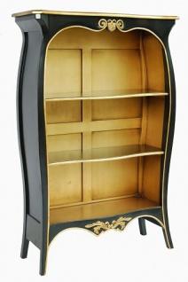 Casa Padrino Barock Bücherschrank Schwarz / Gold B 110 x H 169 cm Bücherregal Regal Schrank