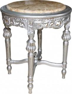Casa Padrino Barock Beistelltisch mit Marmorplatte Rund Silber 52 x 45 cm Antik Stil - Telefon Blumen Tisch