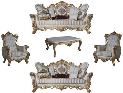 Casa Padrino Luxus Barock Wohnzimmer Set Weiß / Grau / Gold - 2 Sofas & 2 Sessel & 1 Couchtisch - Barock Wohnzimmer Möbel - Edel & Prunkvoll