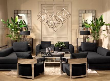 Casa Padrino Designer Sofa Schwarz Linksseitig 231 x 101 x H. 85 cm - Luxus Wohnzimmer Möbel - Vorschau 5