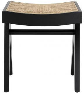 Casa Padrino Luxus Sitzhocker Schwarz / Naturfarben 39 x 31, 5 x H. 43 cm - Massivholz Hocker mit handgewebtem Rattangeflecht - Luxus Möbel
