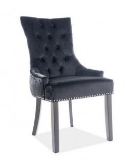Casa Padrino Luxus Chesterfield Esszimmer Stuhl Schwarz / Silber / Schwarz - Küchenstuhl mit Samtstoff - Esszimmer Möbel