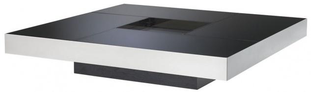 Casa Padrino Luxus Couchtisch Silber / Schwarz 120 x 120 x H. 23, 5 cm - Quadratischer Edelstahl Wohnzimmertisch mit Spiegelglas Tischplatten - Wohnzimmer Möbel - Luxus Qualität