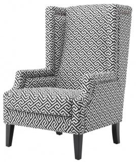 Casa Padrino Designer Sessel Schwarz / Weiß - Luxus Ohrensessel
