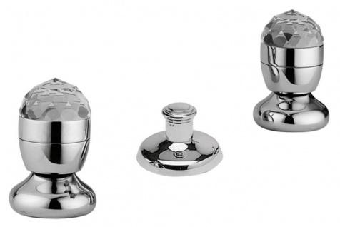 Luxus Badewannen Armaturen Bidget Dreilochbatterie Ablaufgarnitur Silber - Luxus Bad Zubehör Made in Italy