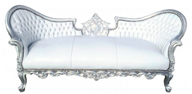 Casa Padrino Barock Sofa Vampire Weiß / Silber 200 x 75 x H. 82 cm - Handgefertigte Lounge Couch mit Lederoptik - Limited Edition - Barockmöbel