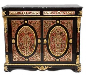 Casa Padrino Barock Boulle Kommode Schwarz / Gold / Rot mit Marmorplatte 125 cm - Möbel Schrank Sideboard