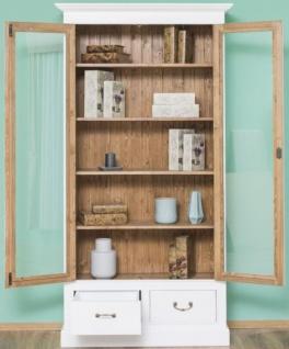 Casa Padrino Landhausstil Bücherschrank Weiß / Braun 109 x 39 x H. 210 cm - Wohnzimmerschrank mit 2 Glastüren und 2 Schubladen - Landhausstil Möbel - Vorschau 2