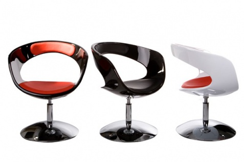 Casa Padrino Designer Stuhl Weiß/Rot, drehbar - Moderner Stuhl - Vorschau 5