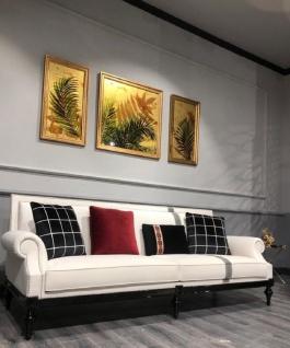 Casa Padrino Luxus Barock Sofa Weiß / Silber / Schwarz - Edles Wohnzimmer Sofa im Barockstil - Barock Wohnzimmer Möbel - Vorschau 2
