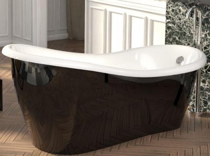 Casa Padrino Luxus Jugendstil Badewanne Schwarz / Weiß 170 x 80 x H. 70, 5 cm - Freistehende Retro Antik Badewanne - Badezimmer Möbel