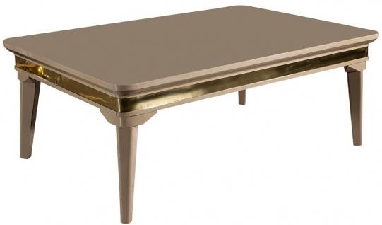 Casa Padrino Luxus Art Deco Couchtisch Beige / Gold 120 x 80 x H. 45 cm - Massivholz Wohnzimmertisch - Art Deco Wohnzimmer Möbel