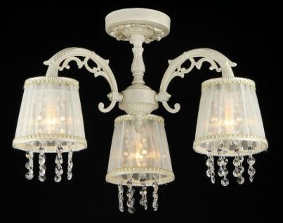 Casa Padrino Barock Kristall Decken Kronleuchter Cream Gold 54 x H 36 cm Antik Stil - Möbel Lüster Leuchter Hängeleuchte Hängelampe