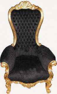 Casa Padrino Barock Thron Sessel Majestic Medium Schwarz/Gold - Riesensessel - Thron Stuhl Tron