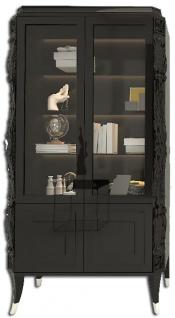 Casa Padrino Luxus Art Deco Vitrine Schwarz / Silber - Handgefertigter Massivholz Vitrinenschrank - Art Deco Wohnzimmer Möbel
