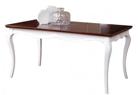 Casa Padrino Luxus Art Deco Esstisch Weiß / Dunkelbraun 160-250 x 90 x H. 77, 5 cm - Ausziehbarer Küchentisch