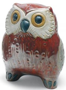 Casa Padrino Luxus Porzellanfigur Eule Rot / Mehrfarbig 13 x H. 16 cm - Deko Skulptur - Vorschau