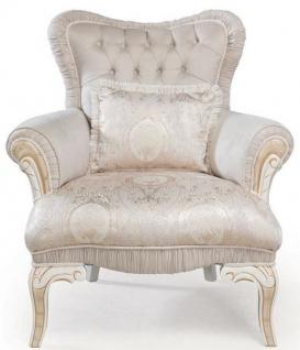 Casa Padrino Luxus Barock Sessel Hellrosa / Weiß / Gold 83 x 96 x H. 102 cm - Wohnzimmer Sessel mit dekorativem Kissen - Barockstil Möbel