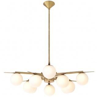 Casa Padrino Luxus Kronleuchter Antik Messingfarben / Weiß Ø 90 x H. 20 cm - Luxus Möbel - Vorschau 2
