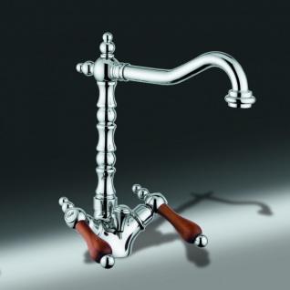 Luxus Bad Zubehör - Jugendstil Retro Waschbecken Armatur Waschtisch Chrom / Teak Serie Milano - Made in Italy