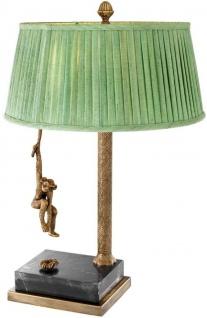 Casa Padrino Luxus Tischleuchte Vintage Messingfarben / Schwarz / Grün Ø 50 x H. 75 cm - Designermöbel - Vorschau 2