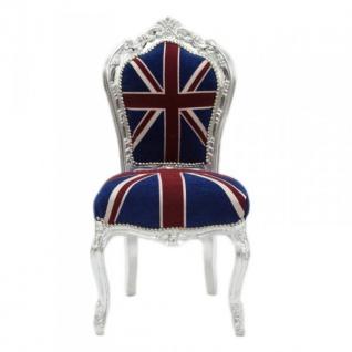 Casa Padrino Barock Esszimmer Stuhl Union Jack / Silber - Möbel Antik Stil