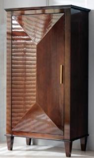 Casa Padrino Luxus Neoklassik Massivholz Schrank Braun / Gold 79 x 45 x H. 147 cm - Wohnzimmerschrank mit Tür - Wohnzimmer Möbel