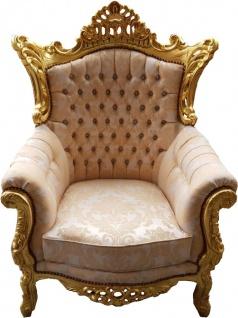 "Casa Padrino Barock Sessel "" Al Capone"" Mod4 Creme Muster / Gold Möbel - Antik Stil - Limited Edition"