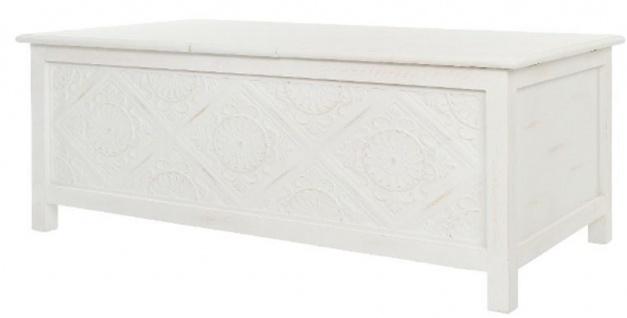 Casa Padrino Landhausstil Couchtisch / Truhe Antik Weiß 115 x 60 x H. 45 cm - Handgefertigter Wohnzimmertisch mit Stauraum