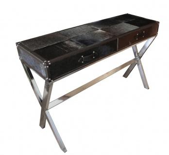 Casa Padrino Luxus Schreibtisch Kuhfell in Schwarz / Braun mit 2 Schubladen - 121 x 41 x H 81 cm - Luxus Konsolentisch