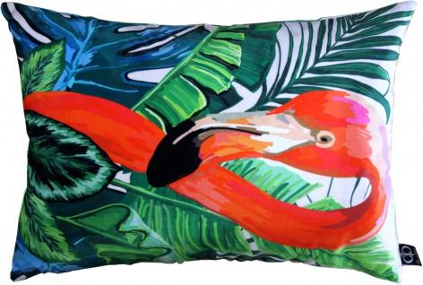 Casa Padrino Wohnzimmer Kissen New Orleans Flamingo Mehrfarbig 35 x 55 cm - Feinster Samtstoff - Luxus Deko Accessoires