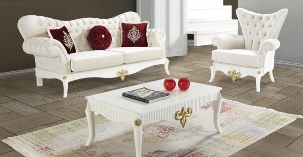 Casa Padrino Barock Wohnzimmer Set Creme / Weiß / Gold - 2 Sofas & 2 Sessel & 1 Couchtisch - Edle Wohnzimmer Möbel im Barockstil