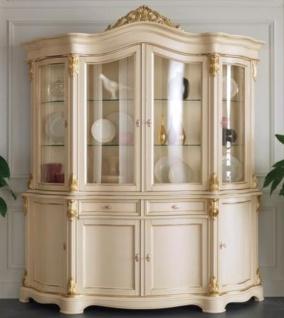 Casa Padrino Luxus Barock Vitrine Creme / Gold 207 x 54 x H. 234 cm - Prunkvoller Barock Vitrinenschrank mit 8 Türen und 2 Schubladen - Barock Wohnzimmer Möbel