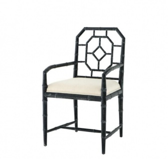Casa Padrino Luxus Esszimmer Stuhl mit Armlehne Schwarz - Limited Edition