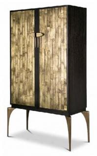 Casa Padrino Designer Barschrank Dunkelbraun / Gold / Messing 100 x 46 x H. 166 cm - Massivholz Schrank mit 2 Türen - Wohnzimmer Möbel - Hotel Möbel - Luxus Kollektion