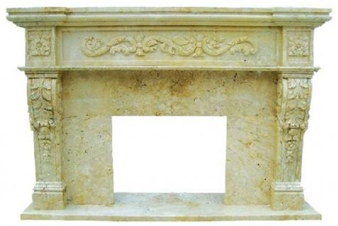 Casa Padrino Luxus Barock Kaminumrandung Gelb 150 x 30 x H. 120 cm - Handgefertigte Kaminumrandung aus hochwertigem Marmor - Kamin Deko Accessoires - Marmor Möbel im Barockstil