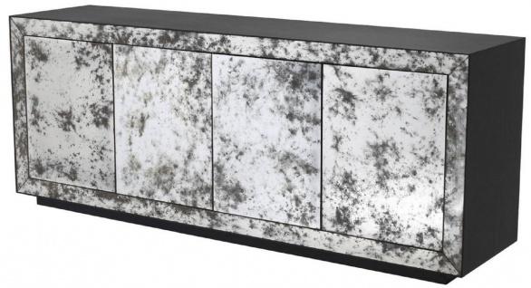 Casa Padrino Luxus Sideboard Anthrazitgrau / Antikes Spiegelglas 200 x 49, 5 x H. 79 cm - Massivholz Schrank mit 4 verspiegelten Türen - Luxus Qualität