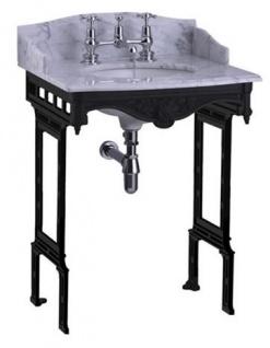 Casa Padrino Luxus Jugendstil Stand Waschtisch Weiß / Schwarz mit Marmorplatte mit Spritzschutz hinten und seitlich - Barock Waschbecken Barockstil Antik Stil